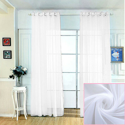 2 x White Sheer Voile Scarf Curtain Panel Sets Curtains Extra Wide Long 214cm