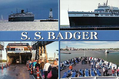 S.S. Badger, Lake Michigan Ferry Ludington to Manitowoc Wisconsin, Ship Postcard
