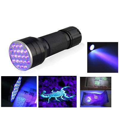 84g 21 LED UV Ultra Violet Flashlight Blacklight Aluminum Torch Light Lamp Hot