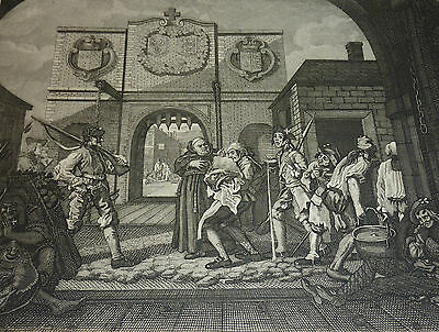 William Hogarth *1697 London sozialkritische Barock Karikatur Mönch mit Soldaten