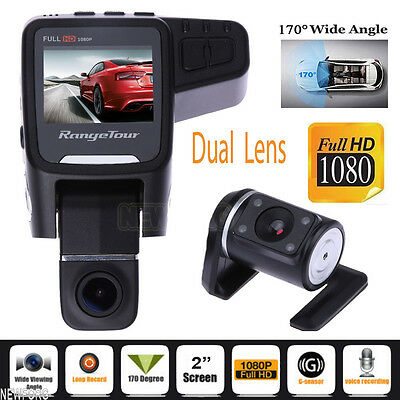 "2"" Vehicle 1080P Car DVR Camera Video Recorder Dash Cam G-Sensor GPS Dual Lens"