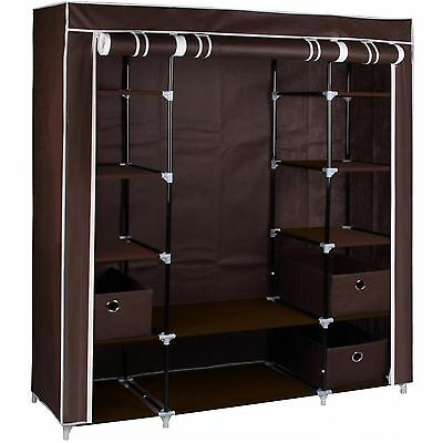 Large Brown Fabric Canvas Wardrobe With Hanging Rail Shelving Clothes Storage