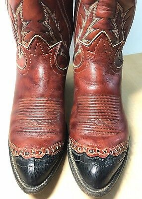 "Vintage TONY LAMA Cowboy Boots Womens 7.5"" w/Box Cowgirl Brown LEATHER Black toe"