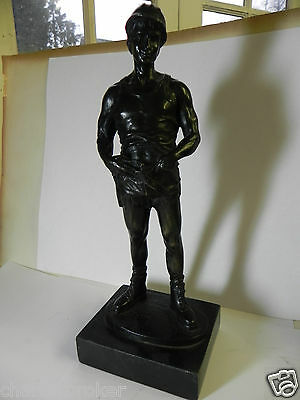 Stunning quality patinated bronze statue, on slate base of a vintage coal miner