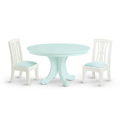 """American Girl MY AG DINING TABLE & CHAIRS 2014 for 18"""" Dolls Wood Retired NEW"""