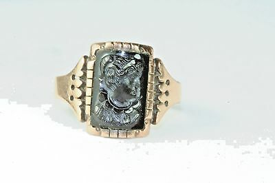 Victorian Antique Mens 14K Gold Black Cameo Ring Size 7