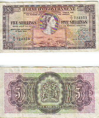 1957 5 Shillings Banknote from Bermuda in Very Fine Condition.