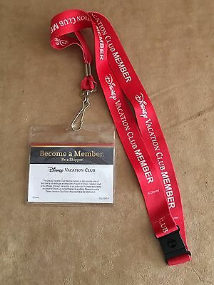 Red Disney Cruise Line DVC Vacation Club Member Cruise Lanyard key Holder pin ID