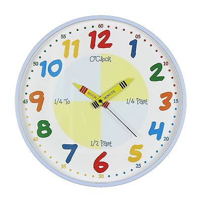 HOMEtime Childrens Time Teaching Learning Wall CLOCK Blue 30cm New