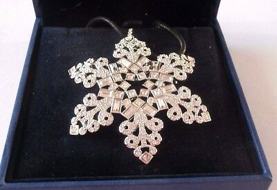 Signed Swarovski Necklace with Snowflake Pendant/Pin Brooch 2004 MIB COA (D)