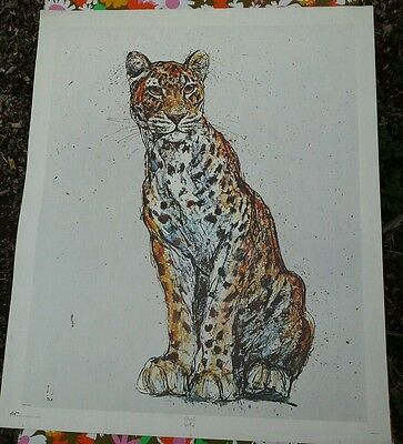 .*☆Fritz Hug~Litho Print on canvas~Cheetah~1971~Un stretched~Bold~Vintage☆*.