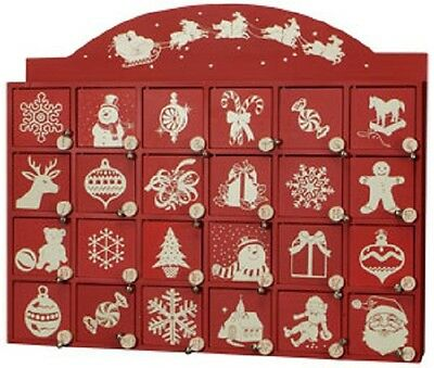 Red and White Christmas Santa on Sleigh Wooden Advent Calendar