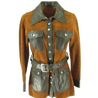 Vintage 60s Leather Suede Hippie Mod Jacket Womens 10