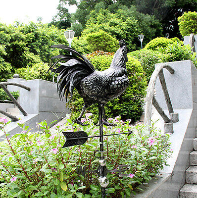 Real Handcraft Steel Larger Rooster Weathervane Barn Rustic Outdoor Full Body