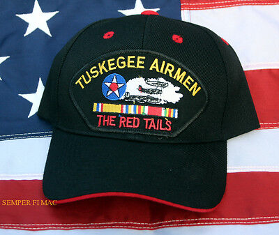 Tuskegee Airman Hat Cap Us Army Corps Air Force P-51 Mustang Pin Up Red Tails