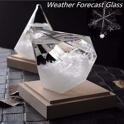 New Crystal Diamond Shape Bottle Home Ornament Weather Forecaster Storm Glass