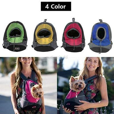 Perro mascota Carrier Mochila Travel Front Bolso Mesh Head Out Double Shoulder
