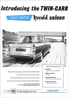 Triumph Herald Saloon Twin Carb Retro A3 Poster Print From 60's Advert