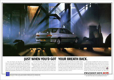 PEUGEOT 405 Mi16 RETRO A3 POSTER PRINT FROM CLASSIC 80'S ADVERT