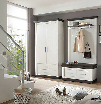 garderobe garderoben set flurgarderobe dielen set 5 teilig pinie weiss neu d43 eur 799 00. Black Bedroom Furniture Sets. Home Design Ideas