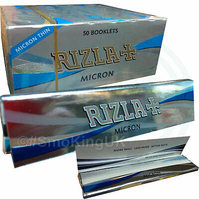 Rizla Silver Micron King Size Slim - 110mm lenfth Full Box of 50 Books