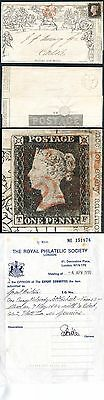 9th May 1840 Penny Mulready uprated with Penny Black (TF) RPS Cert