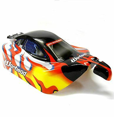 06027 10700 Off Road Nitro RC 1/10 Buggy Body Shell Black Flame Cut Ver 5