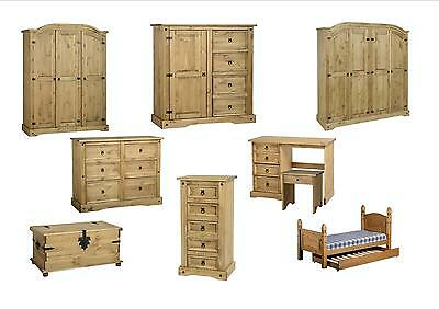Seconique Corona Bedroom - Wardrobe Chest Bedside  - Solid Mexican Pine