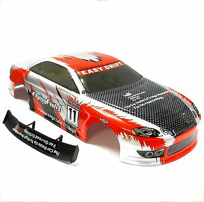 12304 1/10 Scale Drift Touring Car Body Cover Shell RC Red Cut
