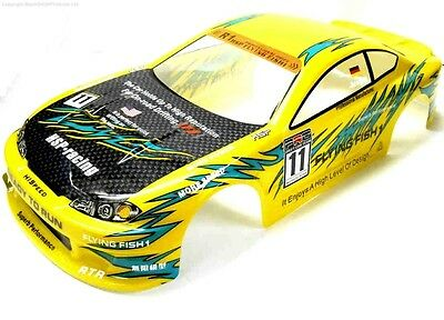 12362 1/10 Scale Drift Touring Car Body Cover Shell RC Yellow Cut