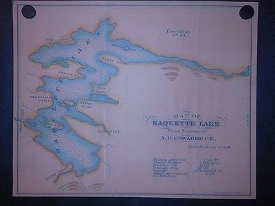 Raquette Lake 1875 Map Adirondack Mountains New York Reprint