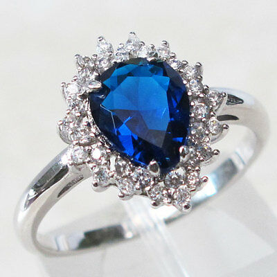 Superb 2 Ct Pear Cut Sapphire 925 Sterling Silver Ring Size 5-10