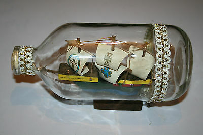 Vintage Ship in a  Glass Bottle Nautical Wooden Boat Sailing Ships Collectors