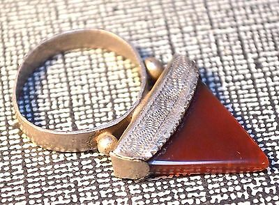 Antique Tuareg Ethnic Coin Silver Ring Agate Stone, Collected Niger, Ring Size 9