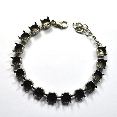 39ss Empty Cup Chain 8mm 15 Cup Bracelet, Antique Silver for Swarovski 1088