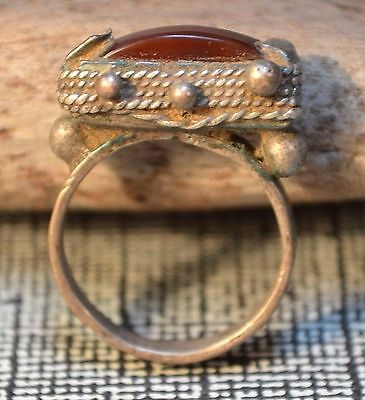 Antique Tuareg Ethnic Coin Silver Ring W Stone, Collected Niger, Ring Size 4.75