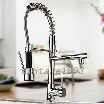 Pull Out Chrome Finish Kitchen Sink Faucet Single Handle Centerset Mixer Tap