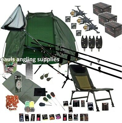 Mitchell  3 Rod Carp Fishing Set Up Kit Rods Reels Chair GIANT TACKLE PACK
