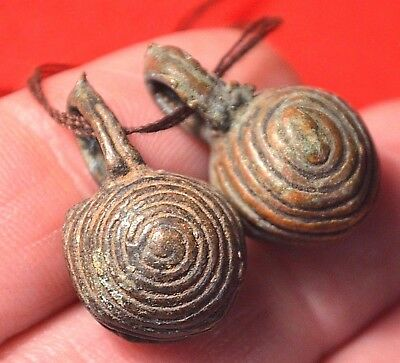 Antique Baule Bronze Lost Wax Cast Bell Beads With Patina Ivory Coast, Africa