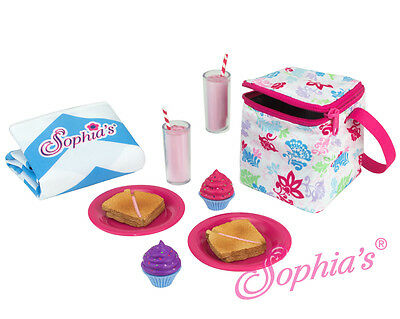 """Picnic Lunch 12 piece Play Set fits 18"""" American Girl Dolls cooler blanket food"""