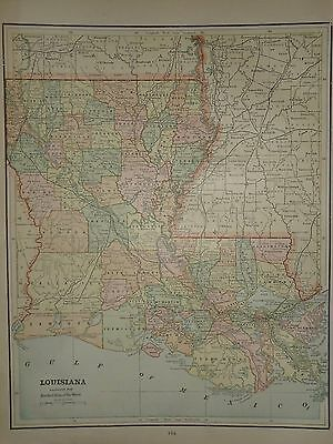 Vintage 1892 Louisiana Map Old Antique Original Atlas Map ***free S&h 92/052216