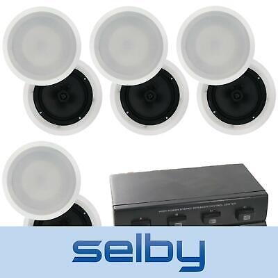 "4-Zone 8-Speaker Pack: 8"" Poly In-Ceiling Speakers + 4-Zone Switch RRP$485"