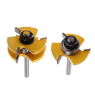 2PCS 1/4Inch Shank Tongue Groove Router Bit Set for Woodworking Cutter