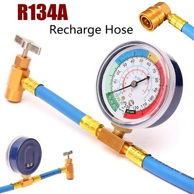 R-134 R134A AC Refrigerant Recharge Hose Can Tap + Gauge with Brass Fitting NEW