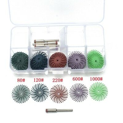 30pcs 1inch Radial Bristle Disc Brush 5 Grits + 5 Mandrel Rotary Adapter + 1 Box