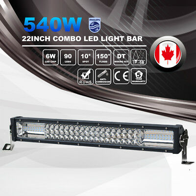 3 Row 22Inch 450W PHILIPS LED Light Bar Combo Beam Offroad 4WD Driving Lamp ATV