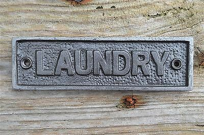Cast iron vintage style LAUNDRY door sign wall raw iron AL72