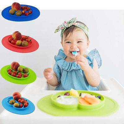 Silicone placemat Child one piece Dish Happy Mini mat Suction Plates One-piece
