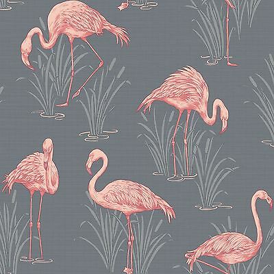 Lagoon Flamingo Grey Coral Wallpaper - Arthouse Vintage 252603