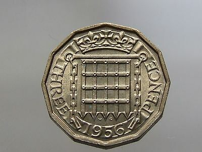 1956 Stunning Brass Threepence; Lovely Coin, Full Lustre - FREE POSTAGE (A49)